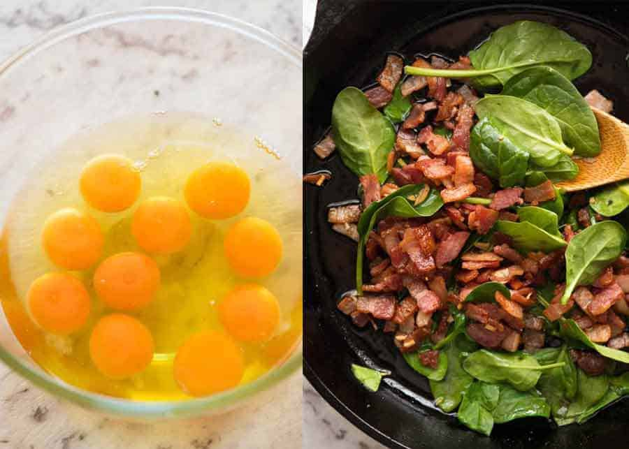 Bacon and eggs for frittata
