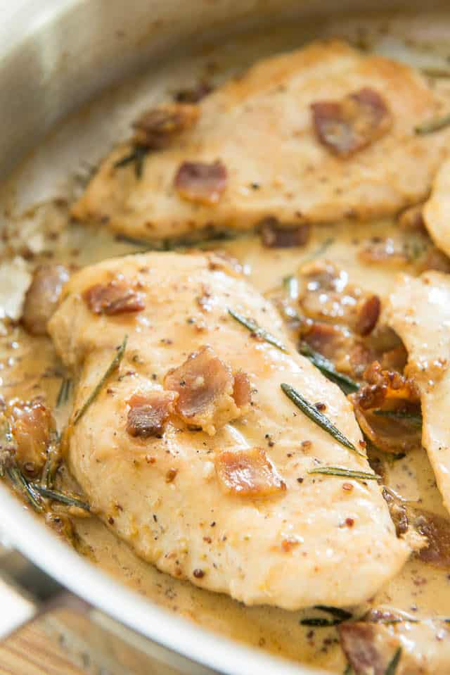 Mustard Cream Sauce and Chicken Cutlets in Skillet with Rosemary