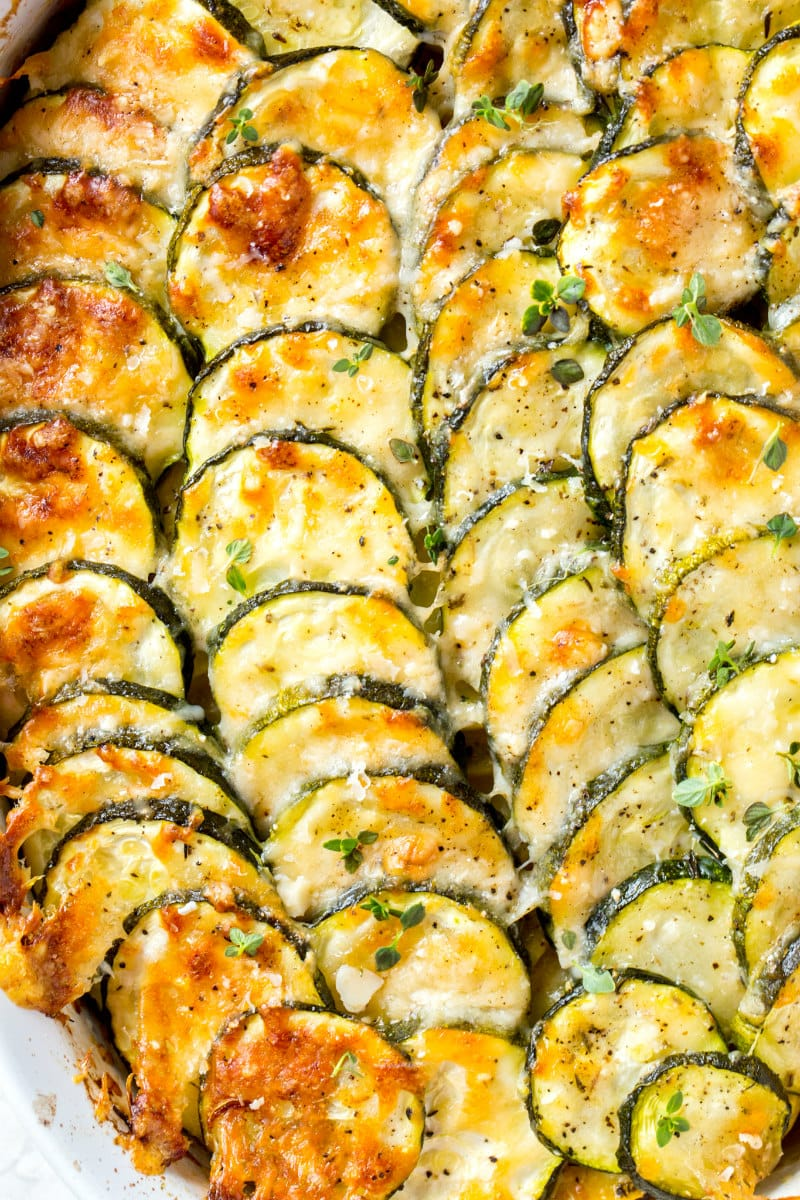 close up of zucchini gratin just out of the oven