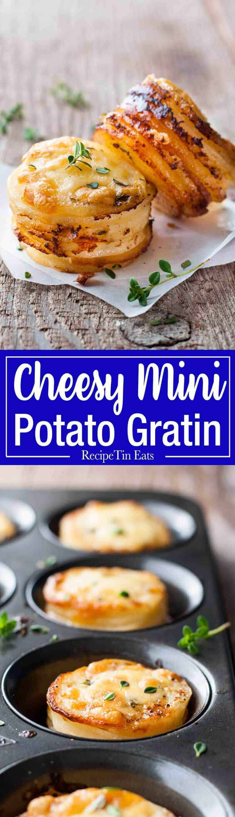Mini Potato Gratin Stacks - great party food, breakfast with eggs or as a side for a fancy dinner. Made in a muffin tin! recipetineats.com